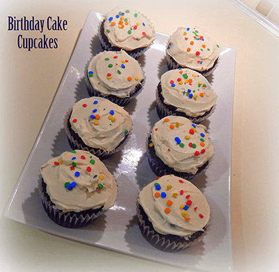Birthday Cake Cupcakes (Devil's Food with Vanilla Icing)