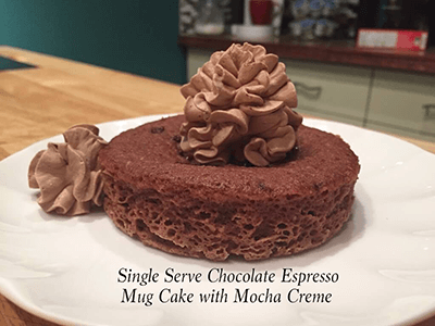 Single Serve Chocolate Espresso Mug Cake with Mocha Creme